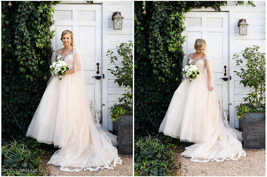 the greenery and vines contrast against the white in bridal session