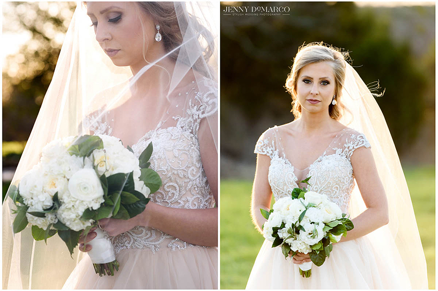 the elegant veil in the sun of the bridal portraits