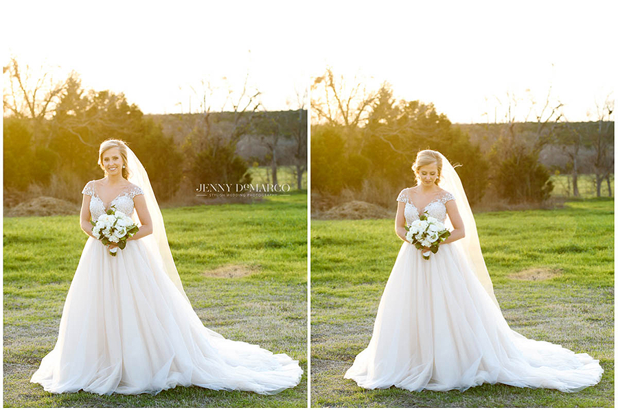 golden hour bridal session at historic mansion grounds