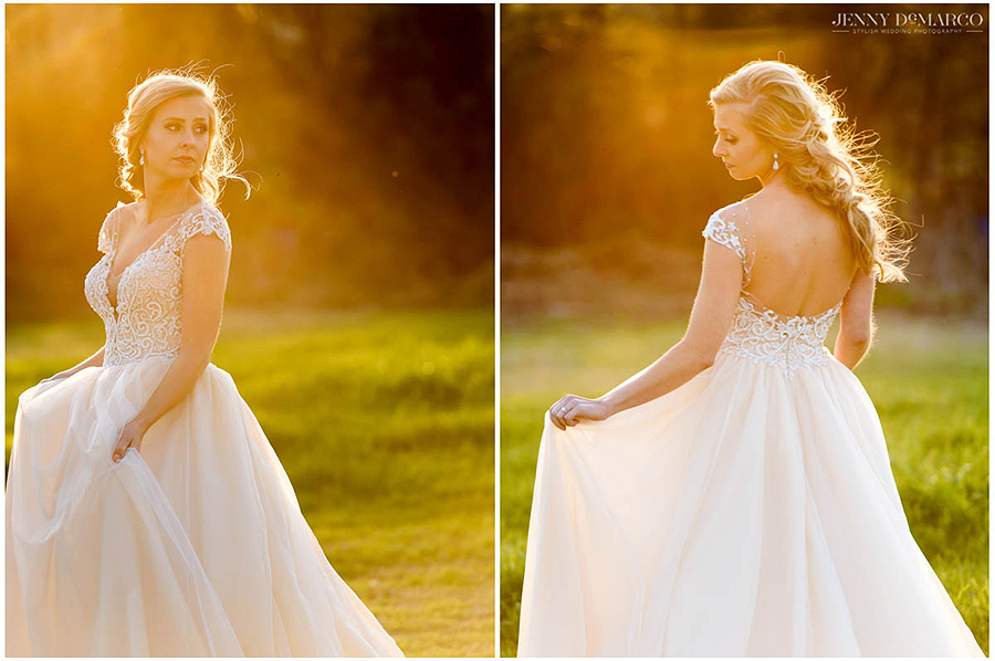 the bride in her stunning dress in the lawn of Barr Mansion at golden hour
