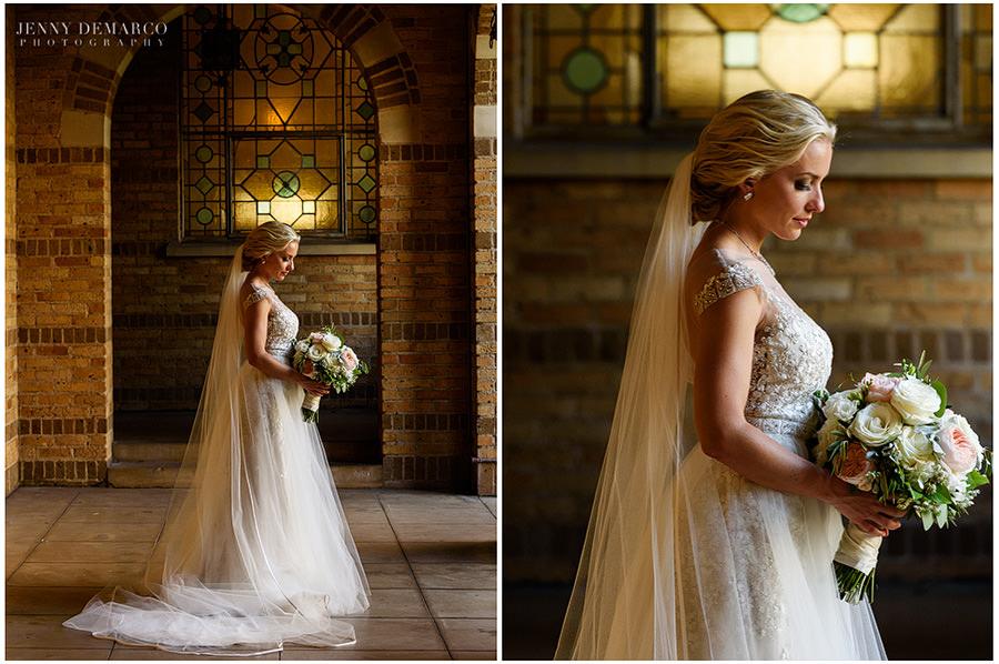 Bridal portrait under the archway.