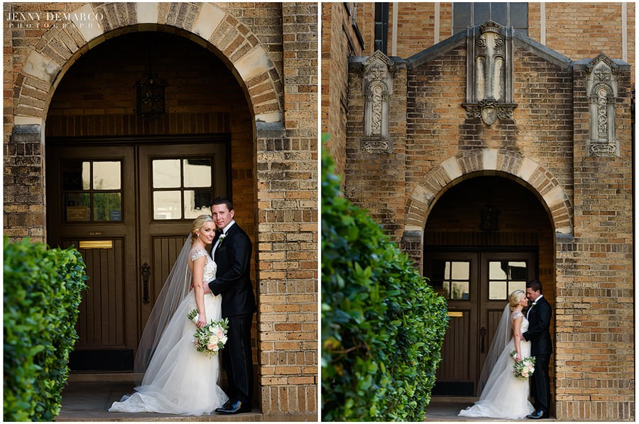 Bride and Groom pose under the arches at Central Christian Church after their wedding ceremony.