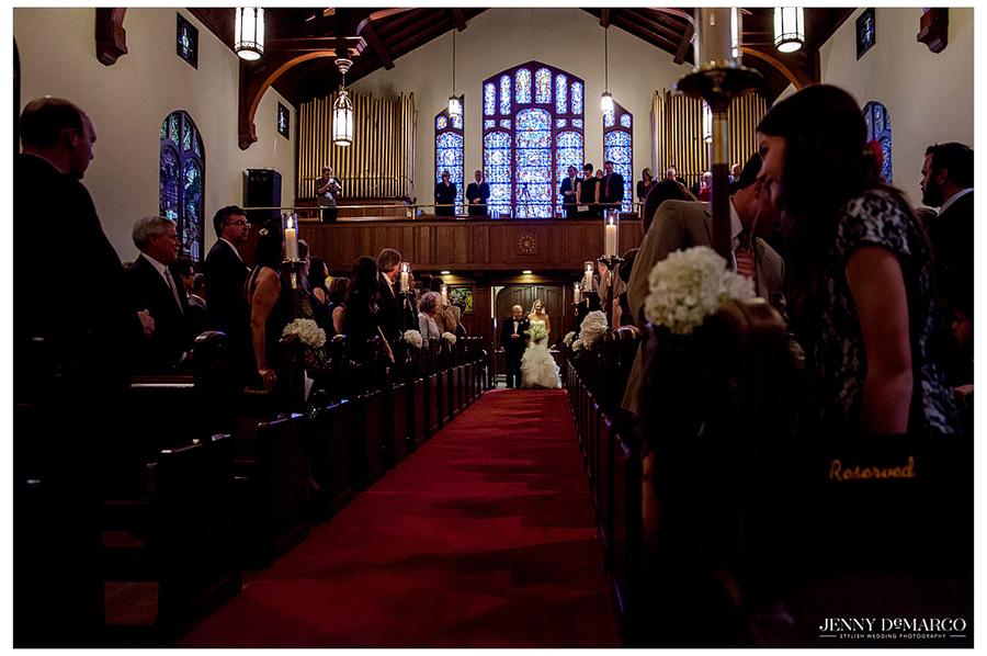 Beautiful church wedding in Waco, Texas.