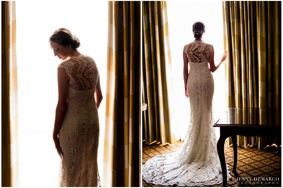 Bride getting ready in her hotel suite at the Four Seasons Austin.