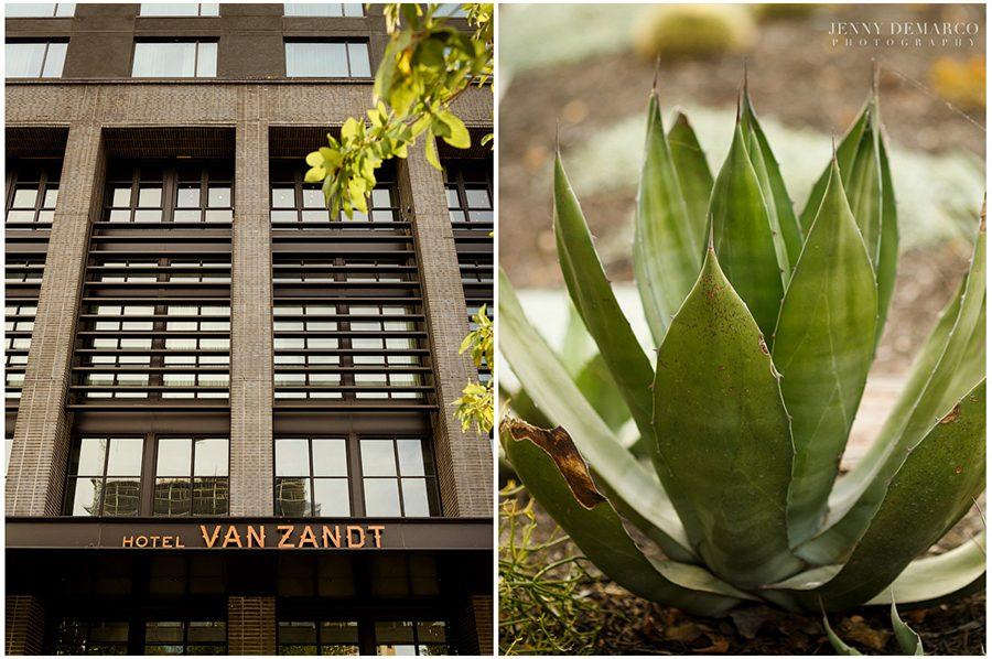Exterior sign of Hotel Van Zandt