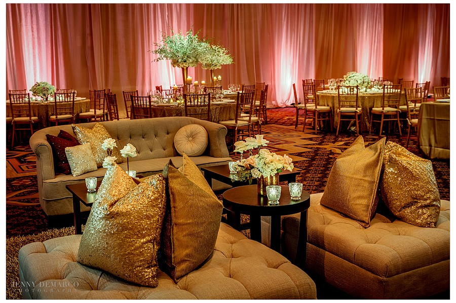 A lounge area for guest to visit and rest is placed just off the dance floor in the Four Seasons Ballroom