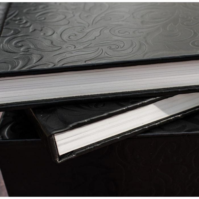 Double Volume Flushmount Album in Black Tooled Leather