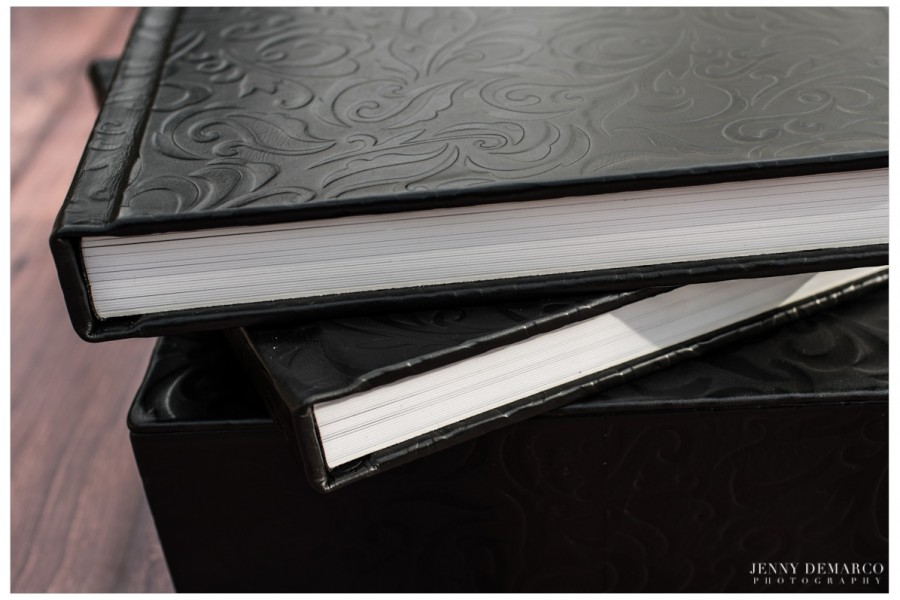 Double Volume Flushmount Album in Black Tooled Leather