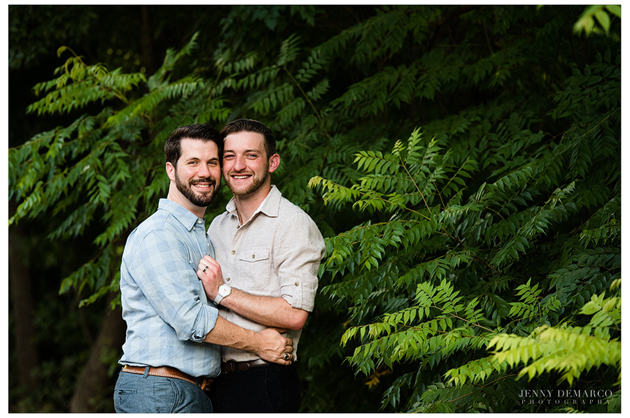 Same sex wedding photographer in Austin captures Tyler and Cody during their engagement portrait session.