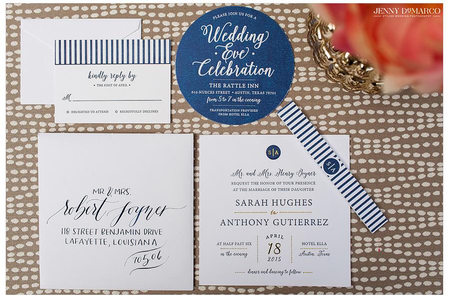 Creative shot of wedding invitation for Hotel Ella wedding in Austin.