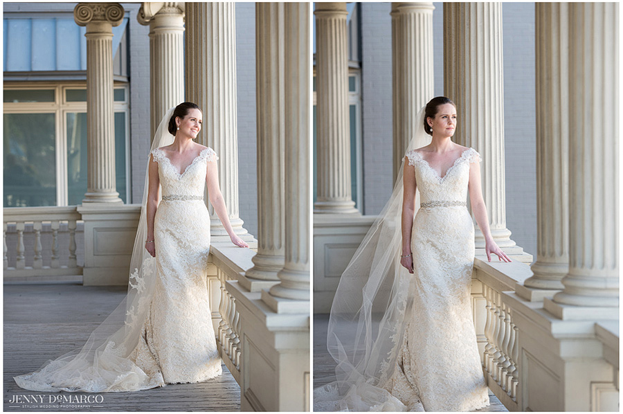 Classy and elegant photos taken of Austin bride in her wedding gown.