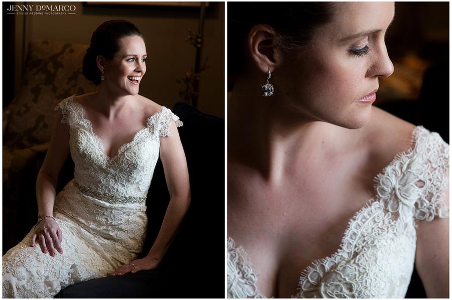 Smiling bridal shot and an elegant close up at Hotel Ella before walking down the aisle.