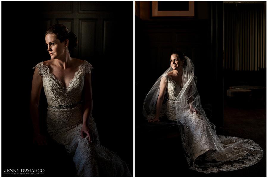 Elegant shots of the bride in her gown, taken in dim lighting.