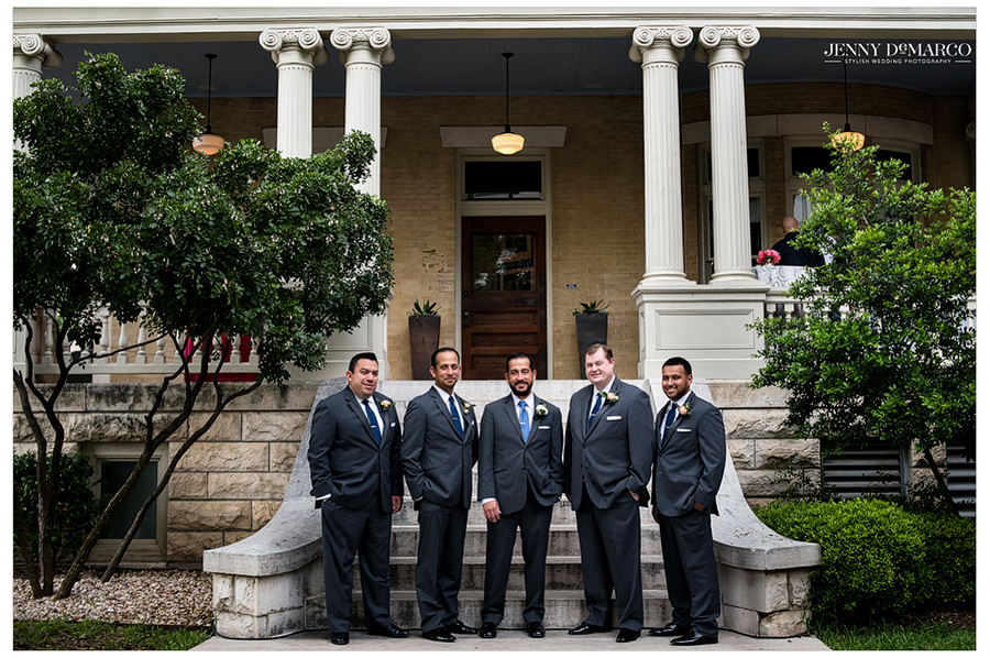 Overview shot of groomsmen in front of Hotel Ella in Austin.