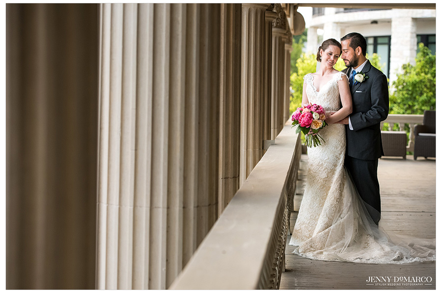 Gorgeous shot of bride and groom after getting married.