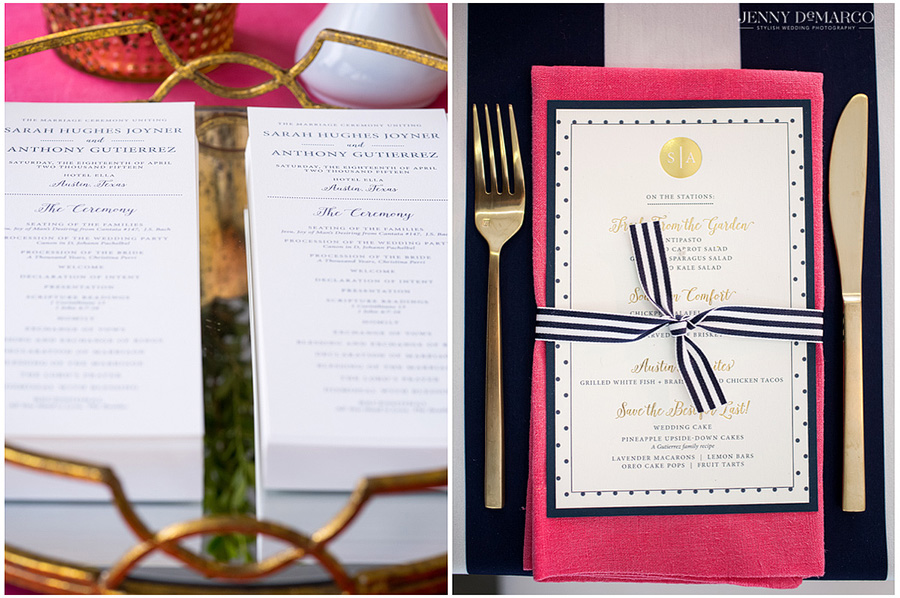 Creative shots of wedding reception detail with pink and navy accents.