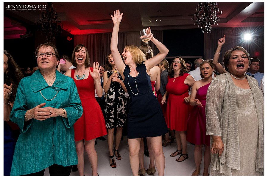 Wedding guests continue to sing and dance late into the reception at Hotel Ella.