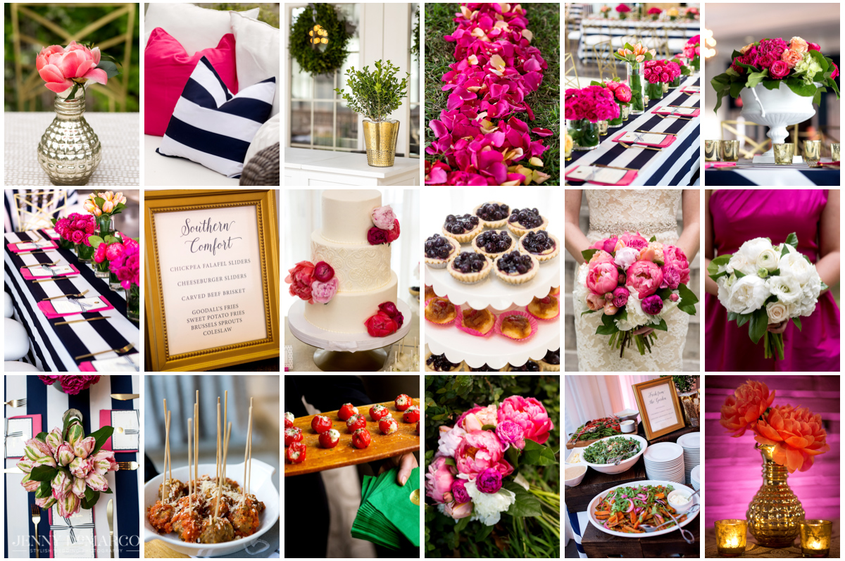 Gold, navy and magenta details at Hotel Ella wedding.