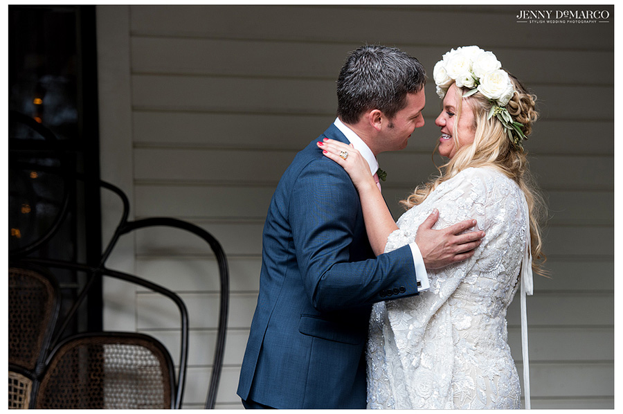 Bride and groom look into each other's eyes after getting married in Austin.