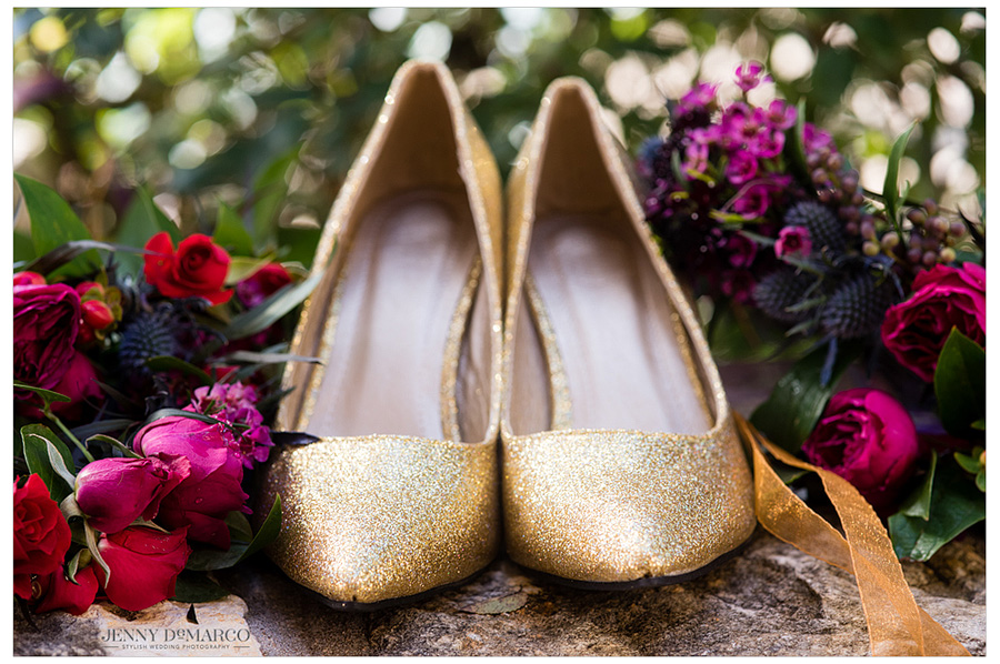 Detail shot of the bride's sparkly gold heels.