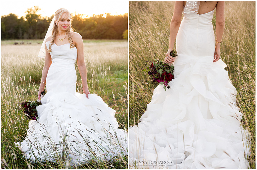 Gorgeous shots of bride in the fields while the sun sets.