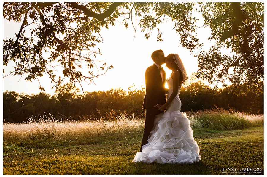 Sunset picture of groom kissing bride on the forehead.