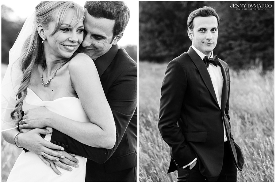 Black and white wedding photos in the country.