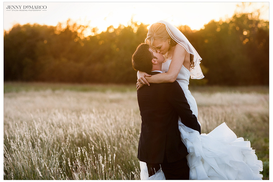 Sunset picture of bride and groom for their country wedding.