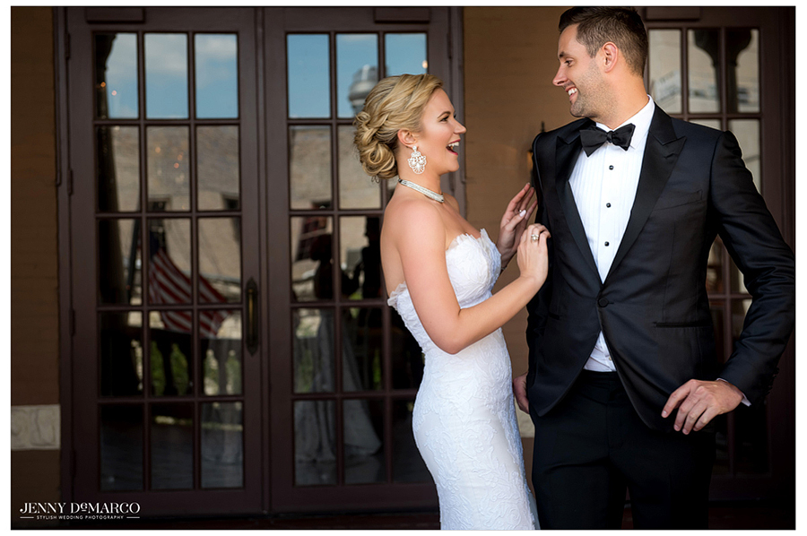 A special moment is captured when the groom turns around to see his beautiful bride for the first time.