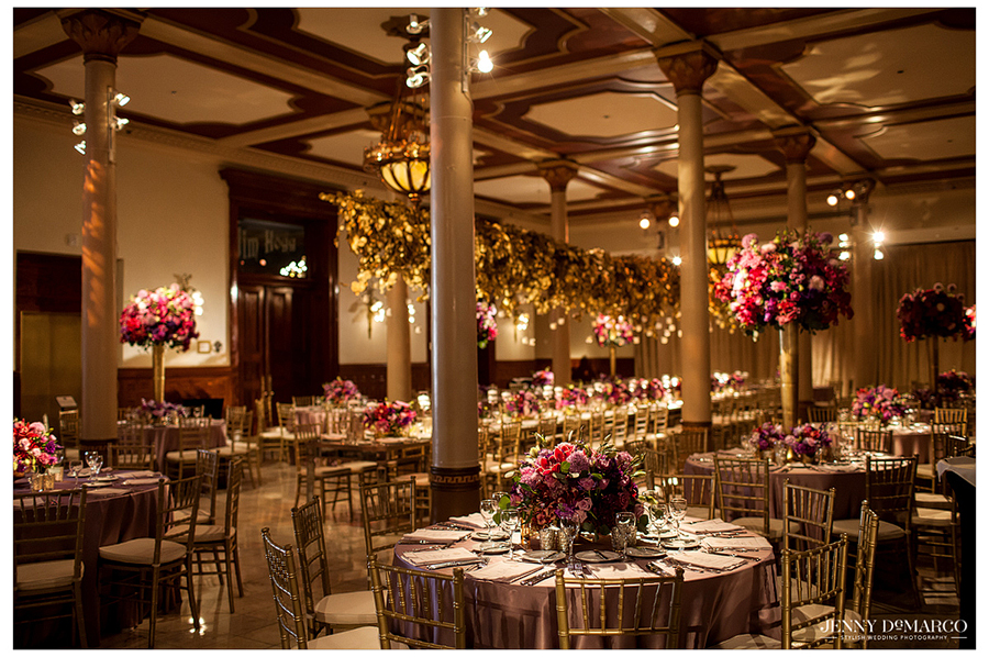 The reception decor perfectly compliments the beautiful ballroom of the Driskill Hotel.