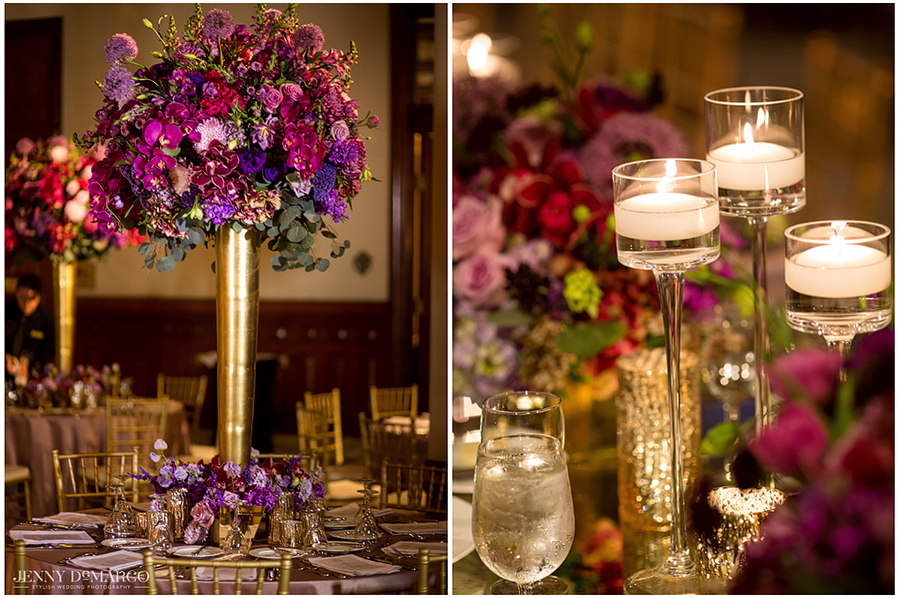 Huge floral centerpieces and candles decorate each table at the reception.