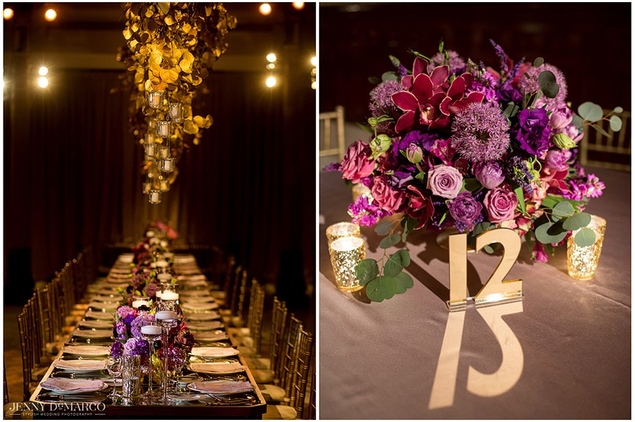 Suspended gold centerpieces and mirrored gold table numbers are just a few of the stunning accents that tie the room together.