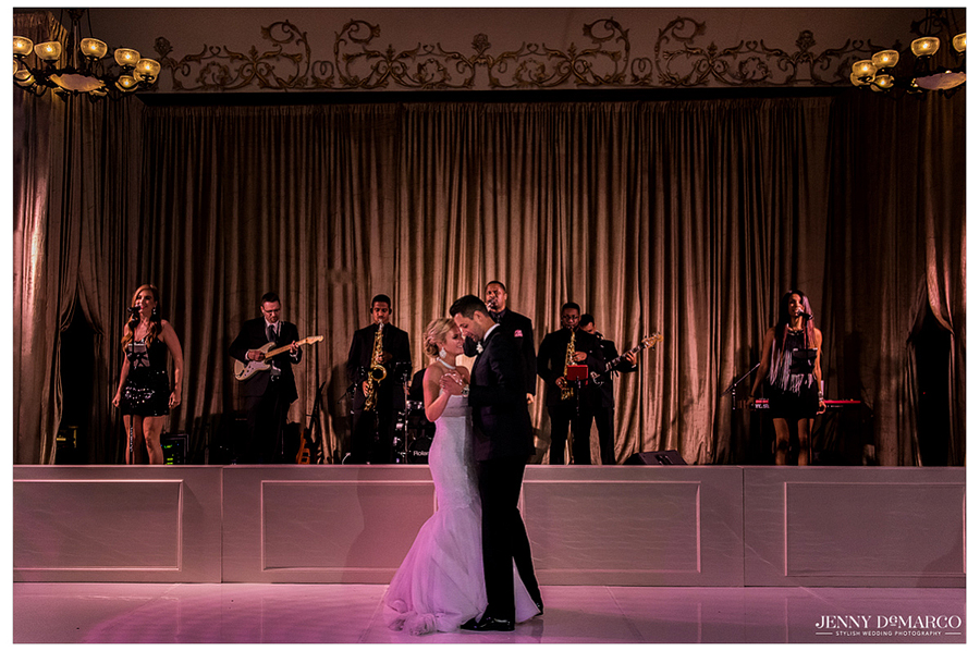 The bride and groom share a magical moment during their first dance as husband and wife.