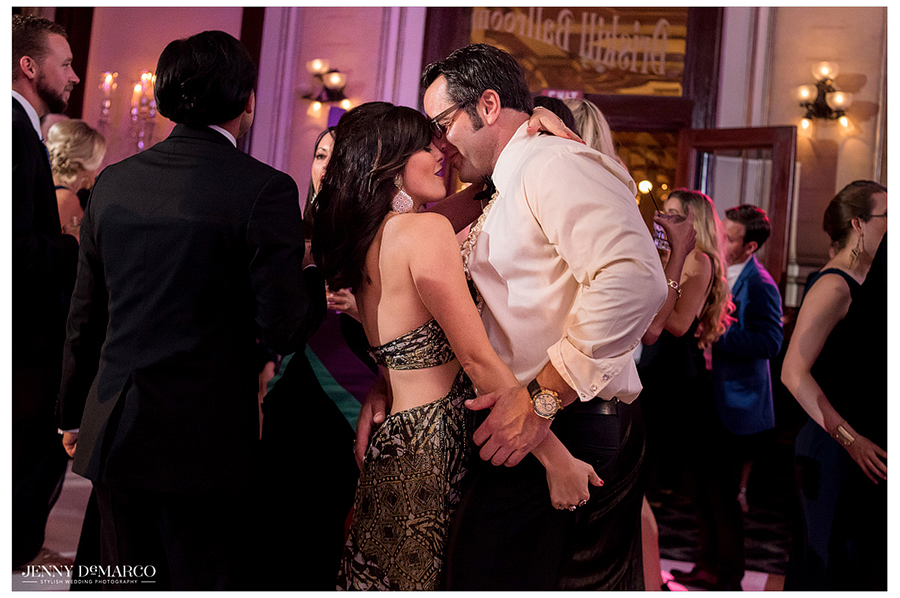 Friends of the couple share of a fun moment on the dance floor during the final few songs of the reception.