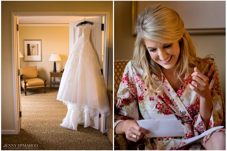The bride reads a letter her mom wrote to her before she begins getting dressed.