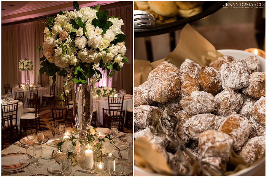 Beautiful centerpieces and beignets are just a few of the fun details from the reception.