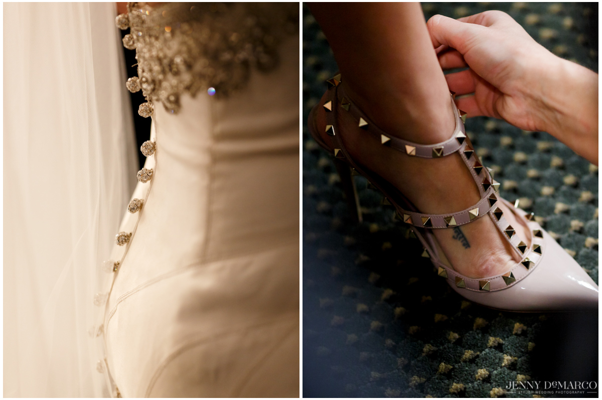The beautiful details of the bride's dress and shoes add elegant touches to her look.