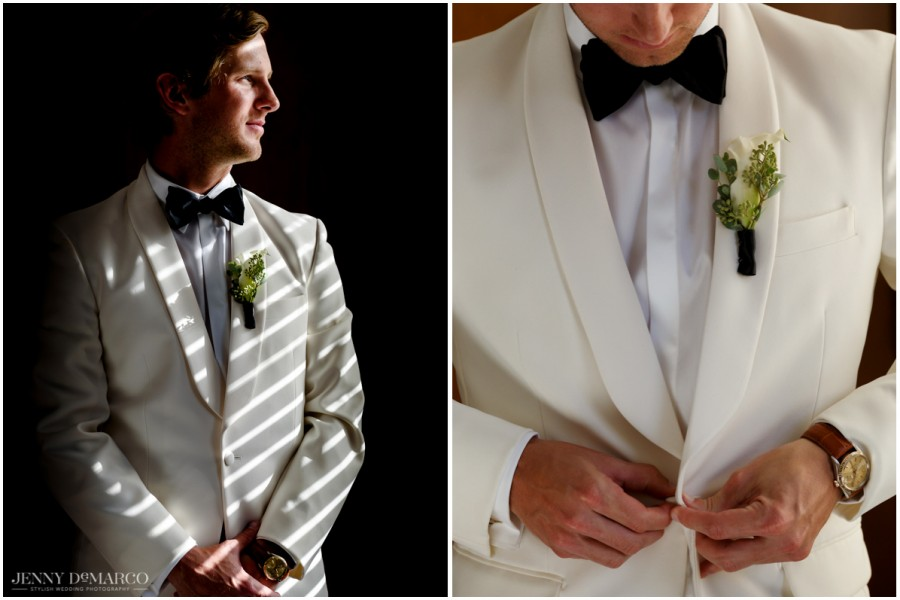 The groom finishes dressing before the ceremony.