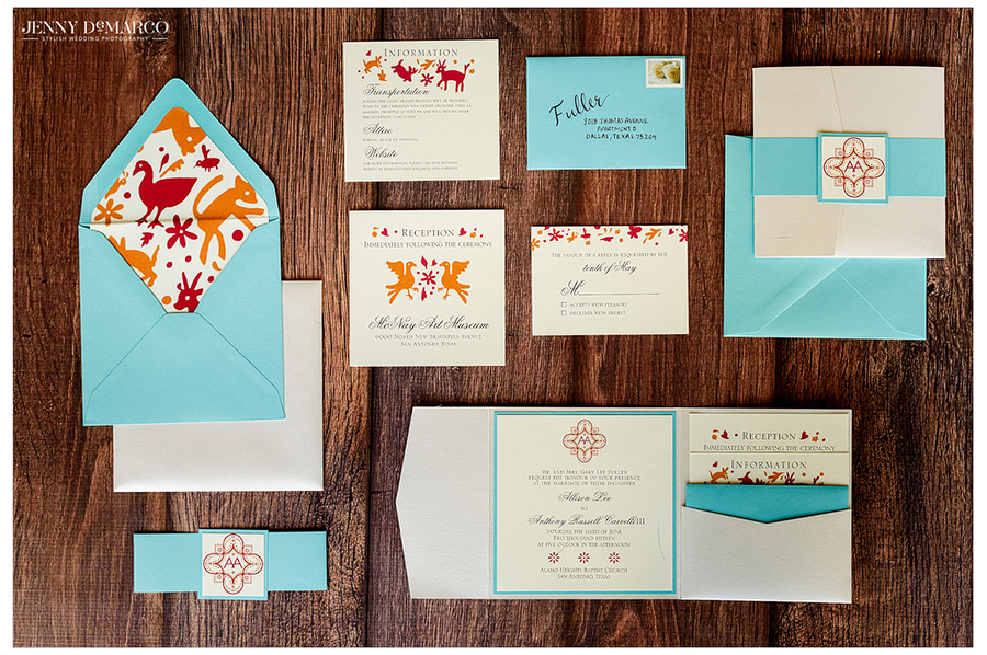 The bride and groom's stationery suite incorporated their bright and festive color scheme.