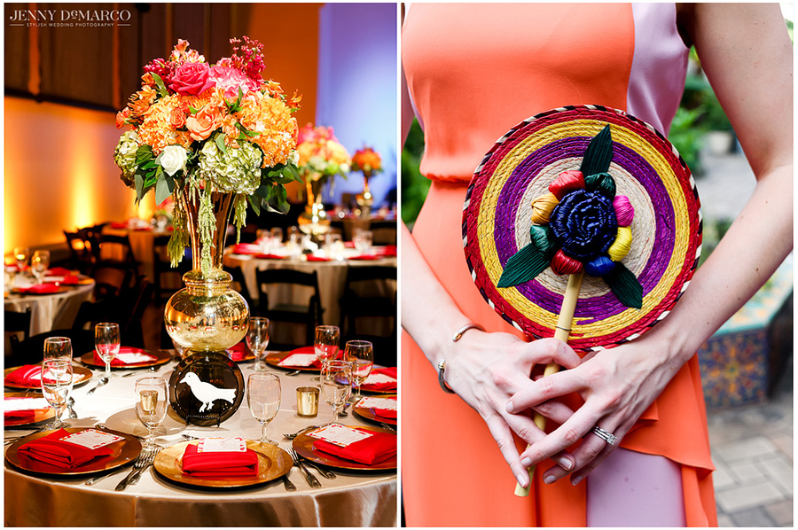 Brightly colored fans were provided to keep wedding guests cool during the outdoor portions of the reception. The wedding decorations incorporated bright florals in keeping with the fiesta-inspired theme, with accents of gold.
