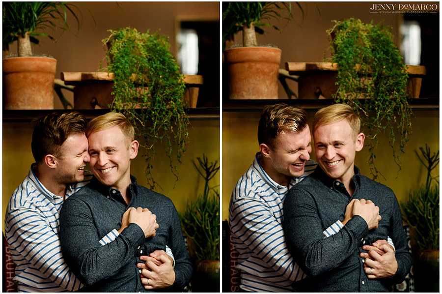 Couple hugging at South Congress Hotel