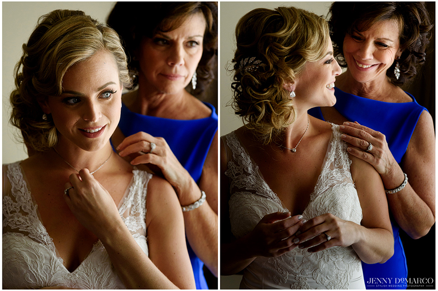 Photos of the bride getting ready and sharing a moment with her mother.