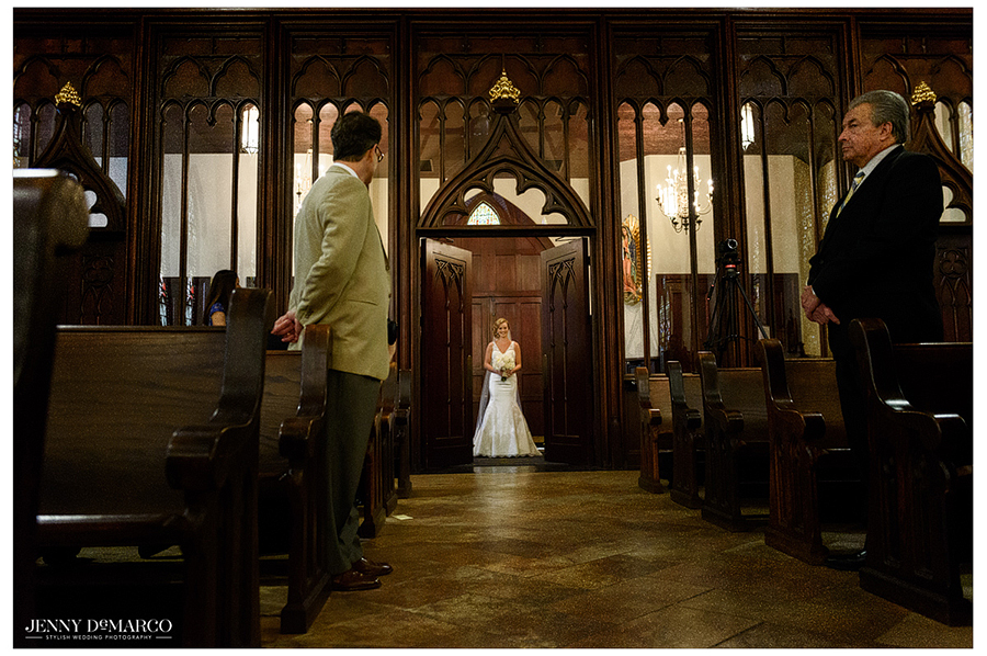 Photo of the bride entering St. Mary's Cathedral where the ceremony was held.