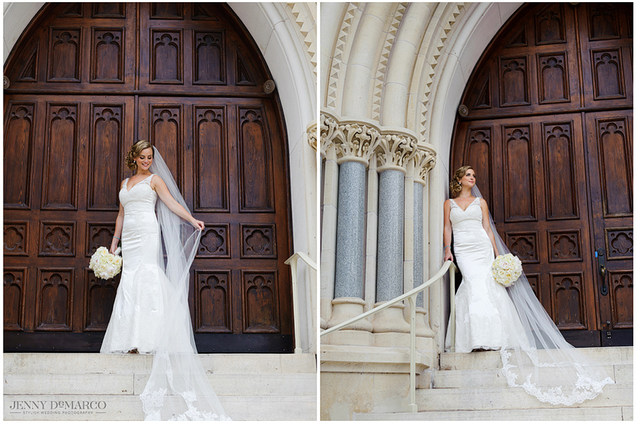Portraits of the bride in her wedding dress on the steps of St. Mary's Cathedral.