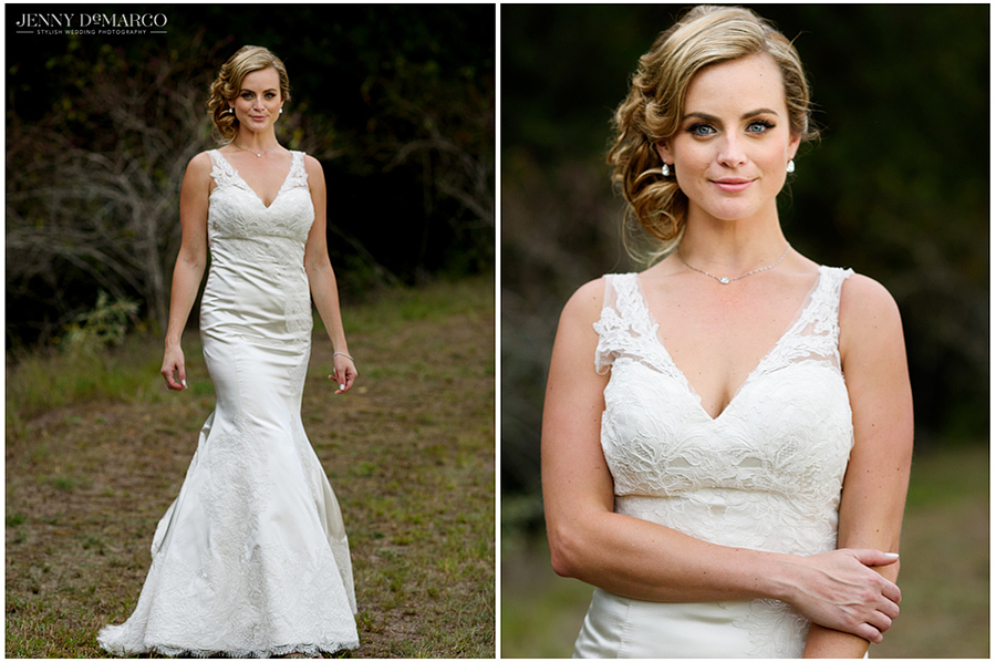 Portraits of the bride in her wedding dress outdoors with a backdrop of lush green trees.