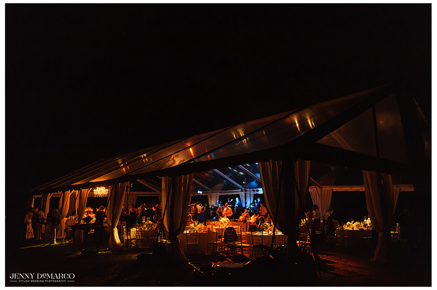 Photo of the outdoor reception venue at night.