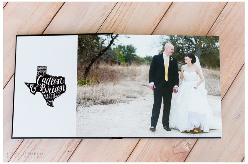 Opening spread in Caitlin and Brian's album incorporated the couples custom wedding logo.
