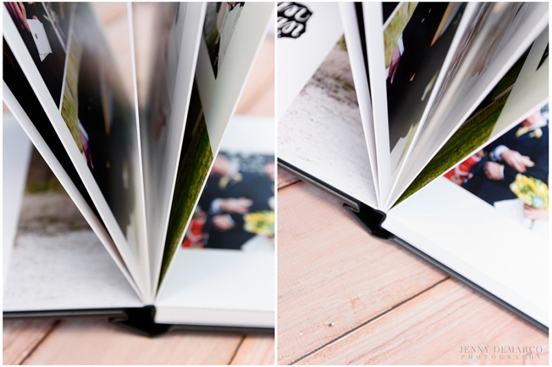 Flushmount albums use archival board to mount the photographic pages.