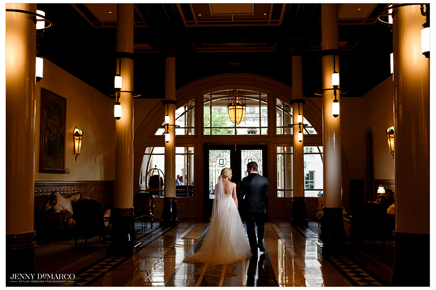 Portrait of the bride and groom together at the wedding reception at the Driskill Hotel.