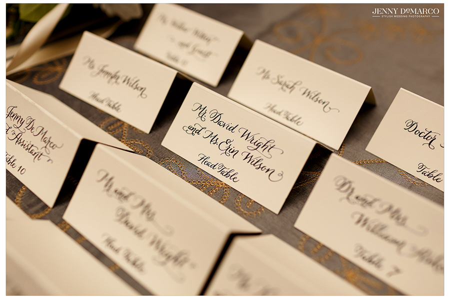 Detail photo of the escort cards at the wedding reception at the Driskill Hotel.